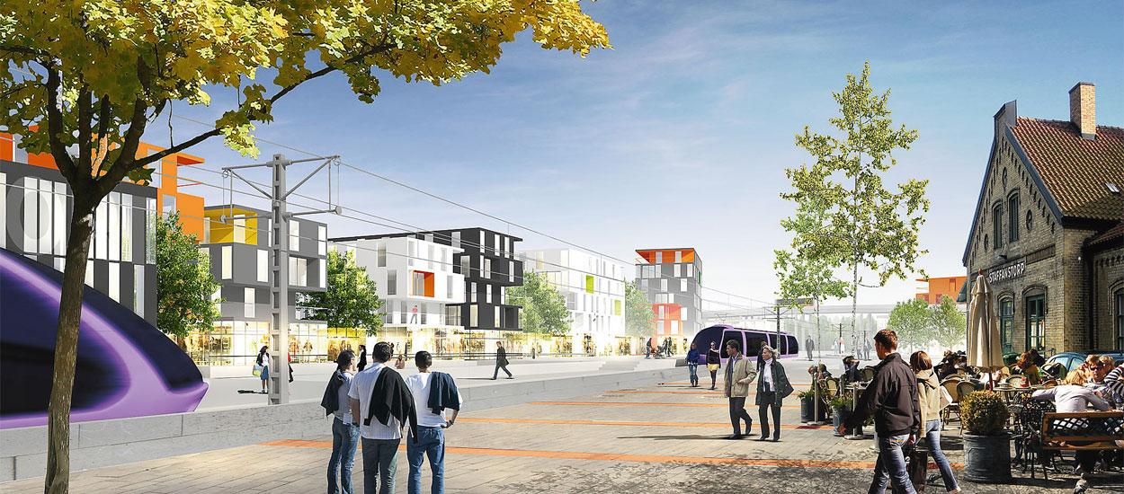 Visionerna finns redan för hur centrum ska se ut när Staffanstorp får tågtrafik.