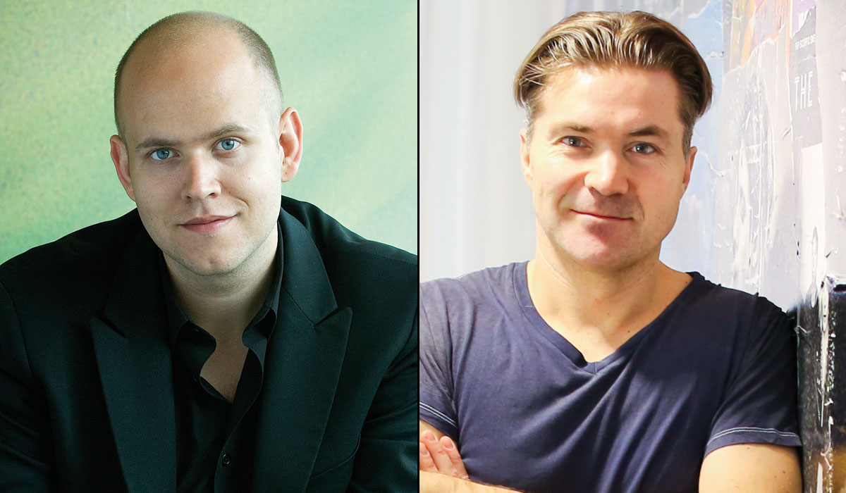 Spotifys grundare Daniel Ek och Martin Laurentzon överväger att flytta tusentals jobb utomlands, bland annat på grund av bostadsbristen i Sverige. Foto: Spotify