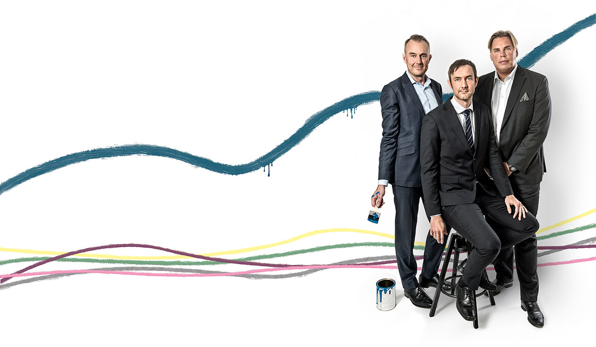 Foto på Niklas Zuckerman, Cushman and Wakefield, Mikael Söderlundh, Pangea och Max Barclay, Newsec Sweden.