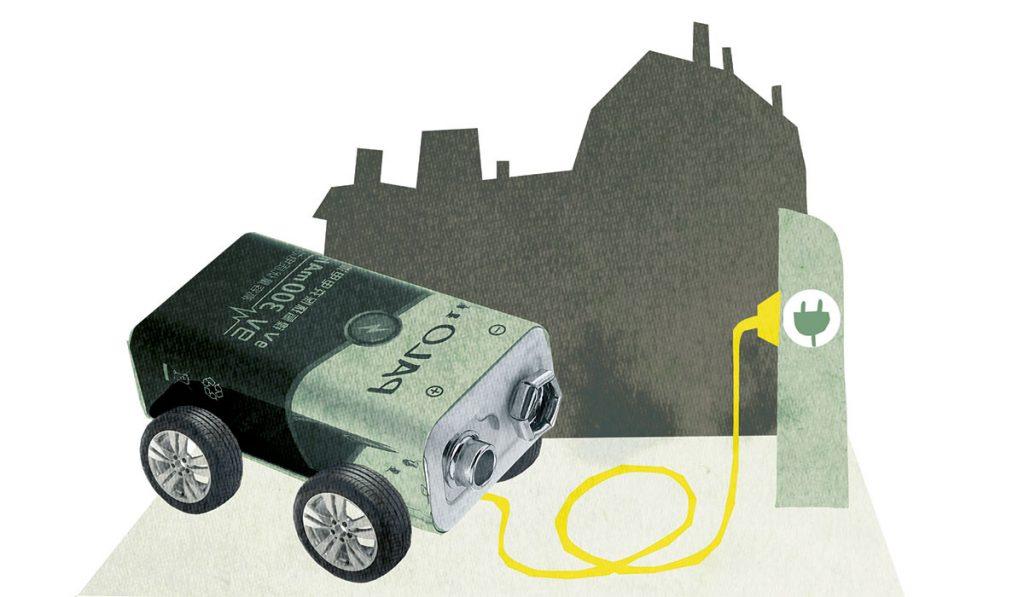 Illustration av ett batteri som föreställer en elbil
