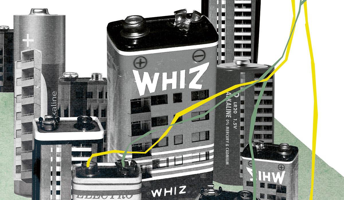 Illustration av batterier som föreställer höghus och som bildar en stad