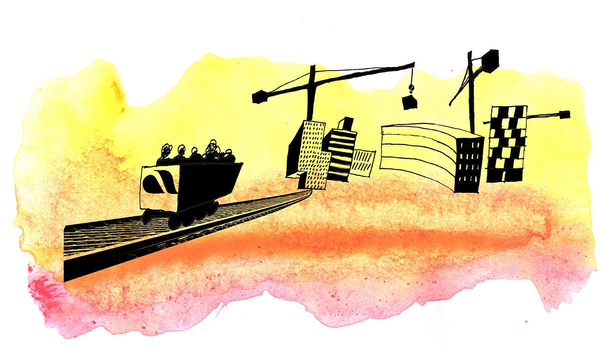 Illustration på tåg och byggnader