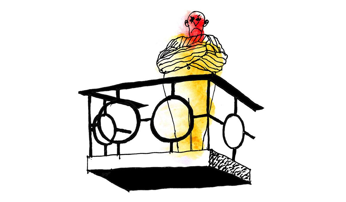 Illustration över en person som står och kollar ut från en balkong.